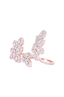 Rose gold plated floral double finger diamond ring by Aster