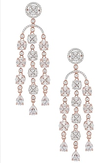 Rose gold plated diamond drop earrings by Aster