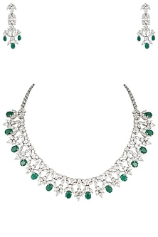 Silver plated diamond and emerald necklace set by Aster