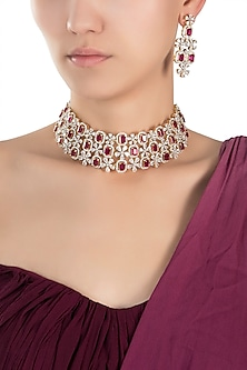 Gold plated diamond and ruby necklace set