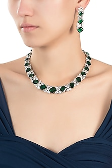 Silver plated solitaire diamond and emerald necklace set