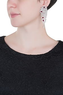 Silver plated faux diamond and ruby earrings