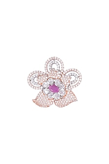Silver plated faux diamond and ruby floral ring by Aster
