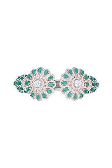 Silver plated faux diamond and emerald floral bracelet by Aster