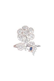 Silver plated faux diamond ring by Aster