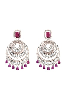 Silver plated faux diamond and ruby drop earrings by Aster