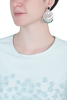 Silver plated faux diamond and emerald earrings