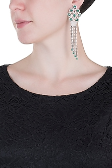 Silver plated faux emerald drop and diamond long earrings