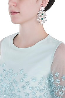 Silver plated faux diamond and emerald long earrings