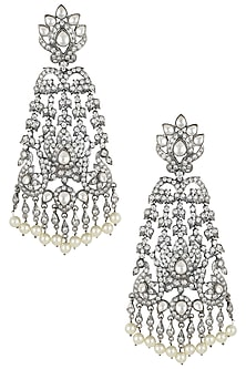 Black rhodium plated long victorian diamond earrings by Aster