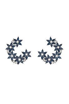 Silver plated faux sapphire floral earrings by Aster
