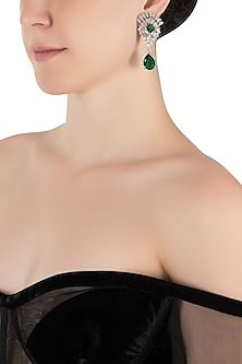 Silver plated diamond and faux emerald drop earrings by Aster