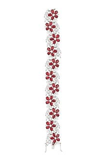 Silver plated faux ruby and diamond bracelet by Aster