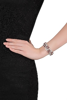 Silver plated faux ruby and diamond bracelet