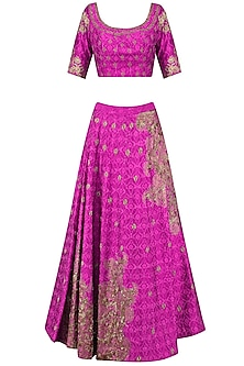 Majenta Pink Hand Embroidered Lehenga Set by Architha Narayanam