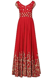 Red Creeper and Bootis Embroidered Anarkali Gown