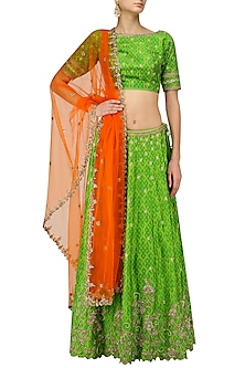 Green Creeper and Bootis Embroidered Lehenga Set by Architha Narayanam
