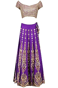 Purple Gota and Zardozi Embroidered Lehenga Set
