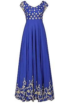Blue Creeper and Bootis Hand Embroidered Anarkali Set