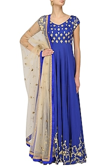 Blue Creeper and Bootis Hand Embroidered Anarkali Set by Architha Narayanam