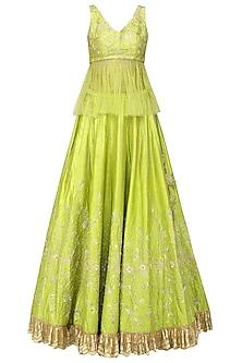 Lime Green Embellished Lehenga Set by Architha Narayanam