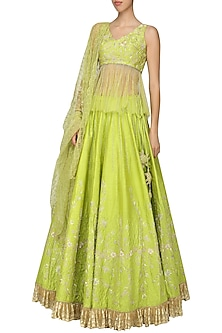 Lime Green Embellished Lehenga Set by Architha Narayanam