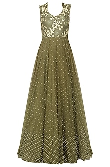 Military Green Embellished Gown
