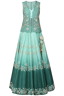 Green Shaded Embellished Lehenga with Bustier and Jacket