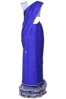 Blue Layered Saree with Blouse by Architha Narayanam