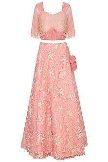 Peach embroidered lehenga set