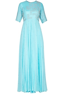 Cyan blue embroidered anarkali gown with dupatta