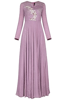 Dark mauve embroidered gown