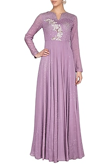 Dark mauve embroidered gown by Architha Narayanam
