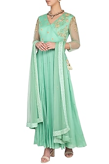 Sage green embroidered anarkali gown with dupatta by Architha Narayanam