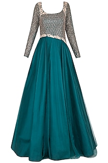 Dark teal green embroidered gown