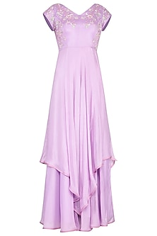 Lavender embroidered layered gown
