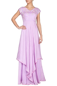 Lavender embroidered layered gown by Architha Narayanam