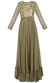 Seaweed green embroidered anarkali gown