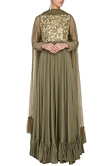 Seaweed green embroidered anarkali gown by Architha Narayanam