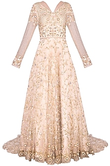 Beige sequins embroidered gown
