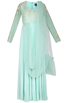 Sage green embroidered anarkali gown with attached dupatta