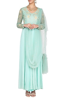 Sage green embroidered anarkali gown with attached dupatta by Architha Narayanam