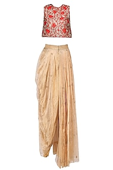 Red Floral Embroidered Crop Top with Gold Dhoti Skirt