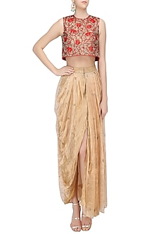 01d52827ab Red Floral Embroidered Crop Top with Gold Dhoti Skirt by Architha Narayanam