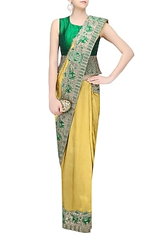 Gold Elephants Embroidered Saree with Green Jacket Blouse by Architha Narayanam