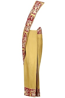 Gold Floral Embroidered Saree with Red High Neck Blouse by Architha Narayanam
