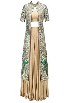 Green Floral Embroidered Jacket with Gold Blouse and Palazzo Pants by Architha Narayanam