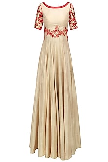 Beige and Red Floral Embroidered Anarkali Set by Architha Narayanam