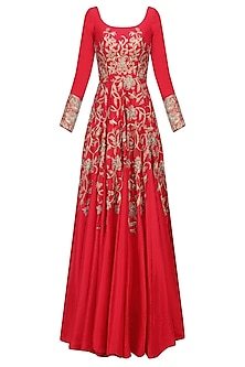 Red Floral Embroidered Kalidaar Anarkali Gown by Architha Narayanam
