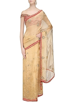 Gold Embroidered Motifs Saree with Red Off Shoulder Blouse by Architha Narayanam